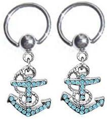 playful piercings Pair of Cool!! Anchor Dangle Nautical Boating Captive Bead Ring Belly, Nipple, Earring Hoop 14g