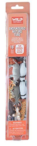 Wild Republic Endangered Animals Nature Tube, Toy Figures, Tube Animals, Kids Gifts, Endangered Animals, Panda, Rhino, Tiger and more, 18-Piece