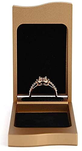 OH Joyería Rack Capacitación Caja de Anillo Pendientes Caja de Anillo de la Joyería de la Moneda Estuche para la Propuesta Compromiso Joyería de Boda Torres Seguro y fuerte/Gold / 8 * 4