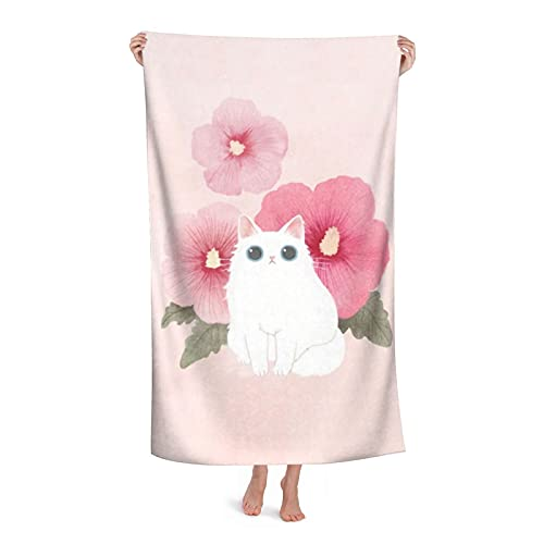 Lovely Art Pink Flowers Big Eyes White Cats Microfiber Bath Towels are Absorbent and Fluffy Soft and Skin-Friendly The Best Gift for Swimming Pool Beach Travel