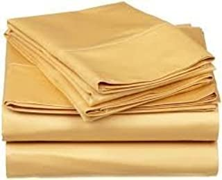1000 Thread Count Four (4) Piece Queen Size Gold Solid Bed Sheet Set, 100% Egyptian Cotton, Premium Hotel Quality