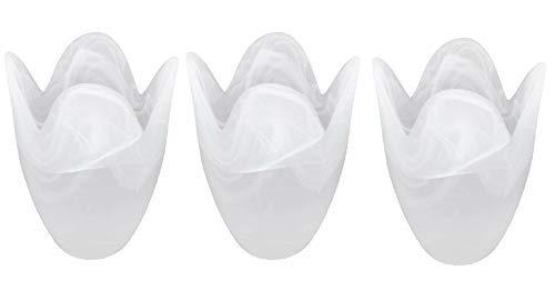 MiniSun – Ersatzlampenschirm Glas Weiss, tulpenförmig, Marmoroptik (3er Set) – Ersatz Lampenschirm Glas – Lampenglas Ersatzglas – Ersatzschirm Glas, Weiss (Milchglas, 10 cm)