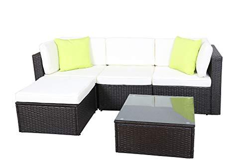 GOJOOASIS Polyratten Lounge, 5 Teilig Sitzgruppe, 200 cm Gartenmöbel Garnitur für 3-4 Personen, Couch-Set in Braun-schwarz mit beigen Bezügen & grünen Kopfkissen, für Garten, Terrasse & Balkon