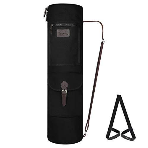 Ryaco Borsa Yoga, Borsa per Tappetino da Yoga con Multi Tasche Portaoggetti, Cinghia Regolabile, Facile Accesso (Nero)