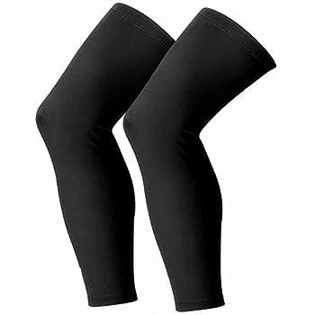 Leg Sleeves Compression Long Sleeve Calf and Shin Supports for Football Basketball Cycling  Medium Black