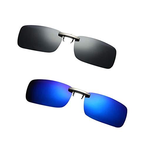 F Fityle Lente Polarizada de 2 Piezas UV400 Clip Abatible en Gafas de Sol Use sobre Vidrio Visión Conducción