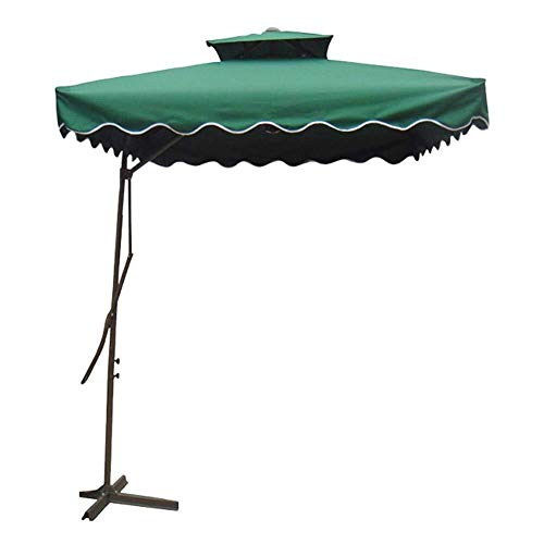 joyvio Parasol Cuadrado Roma Offset De 2,2 M, Sombrilla Colgante En Voladizo De Doble Capa con Base Cruzada para Exterior/Jardines/Balcón/Toldo para Patio (Color : Green)