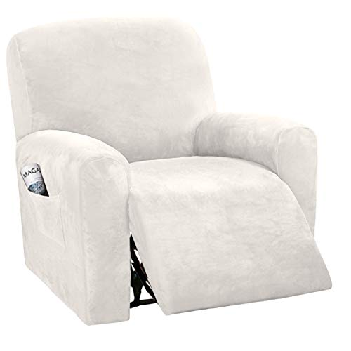 BellaHills Velvet Sofa Slipcover High Spandex Sofa Cover/Lounge Covers/Couch Covers for Recliner Ivory Sofa Protector for Dogs High Stretch Furniture Protector Cover for Recliner(Recliner, Ivory)