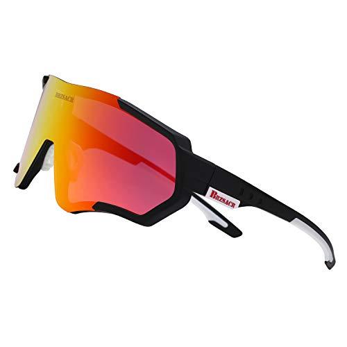 BRZSACR Gafas de ciclismo polarizadas para hombres y mujeres, gafas de béisbol con 3 lentes intercambiables, Púrpura/Ombre Force.,...