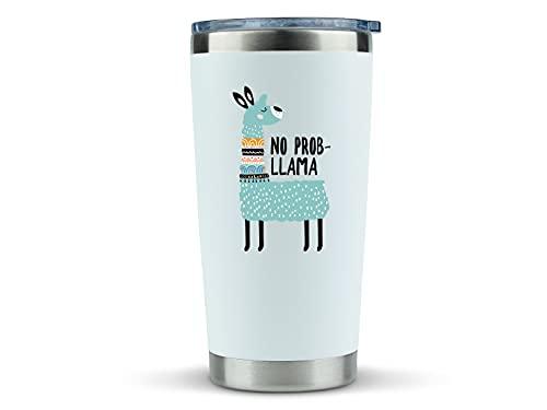 Llama Gifts for Women - 'No Probllama' 20oz Travel Coffee Mug/Tumbler- Idea for Llama Lover, Men, Decor