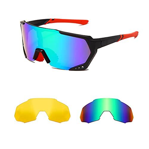 YAMEIZE Gafas de sol polarizadas deportivas para ciclismo para hombres y mujeres UV400 Gafas de golf para pesca al aire libre con 3 lentes intercambiables (GREY&NIGHT VISION &Green)