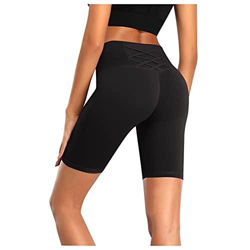 Mallas de Mujer Color Sólido Push Up Pantalones Cortos Deportivos Cintura Alta Reducir Vientre Leggins Leggings Fitness Absorbentes y Transpirables Shorts de Yoga para Correr Gym Fitness