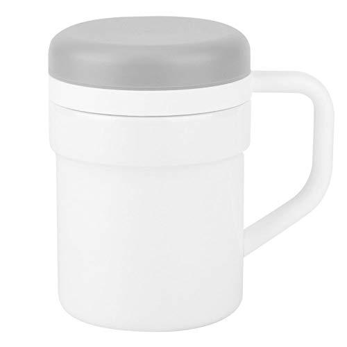 Taza de mezcla inteligente automática de 320 ml, taza de café con agitación automática de acero inoxidable para café, té, chocolate caliente, agitación de leche(blanco)