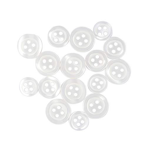 ButtonMode Standard Shirt Buttons 16pc Set Includes 8 Shirt Front Buttons x 13mm (1/2 Inch), 4 Shirt Sleeves x 11.5mm (7/16 Inch) and 4 Shirt Collar Buttons x 10mm (3/8 Inch), White, 16-Buttons