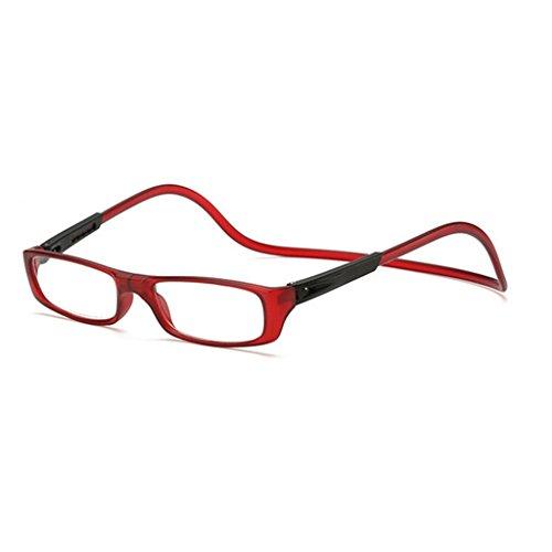 Kalttoy Verbesserte Unisex Magnet Lesebrille Männer Frauen Bunte Verstellbare Hängende Hals Magnetische Vorder presbyopie brille (Weinrot, 1.50)