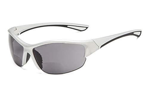 Eyekepper Hälfte-Rahmen Sports Bifokal Sonnenbrille +3.50 Stärke,die Sonnenbrille liest (Silber Rahmen/Grau Linse)