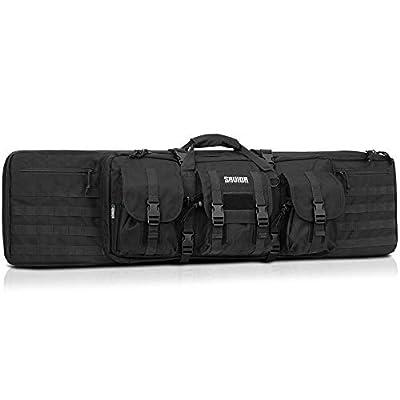 Savior Equipment American Classic Tactical Double Long Rifle Pistol Gun Bag Firearm Transportation Case w/Backpack - 46 Inch Obsidian Black