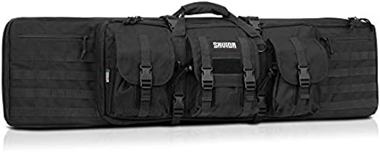 Savior Equipment American Classic Tactical Double Long Rifle Pistol Gun Bag Firearm Transportation Case w/Backpack - 36 Inch Obsidian Black