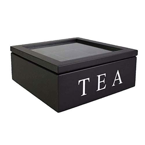 Teebox Holz,Quadratische Teekiste Teedose Teebeutel Box mit 9 Fächern für die Teebeutel Aufbewahrung Aromaschutz,Storage Box im Retro Look Handgefertigte Teebox mit kratzfestem Sichtfenster (Schwarz)