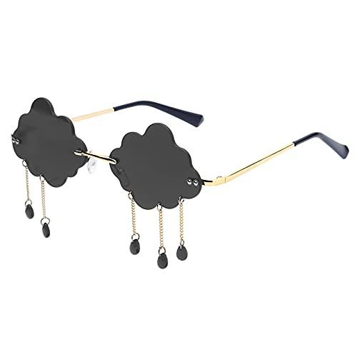 Gafas De Sol Vintage Clouds Tassel Steampunk Gafas De Sol Moda Sin Montura Gafas De Conducción Mujeres Hombres Sin Marco Gafas Punk Sombras Uv400 Gris
