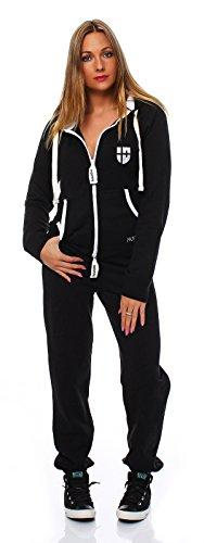 Hoppe Gennadi Damen Jumpsuit Onesie Jogger Einteiler Overall Jogging Anzug Trainingsanzug - Slim FIT,schwarz,XL