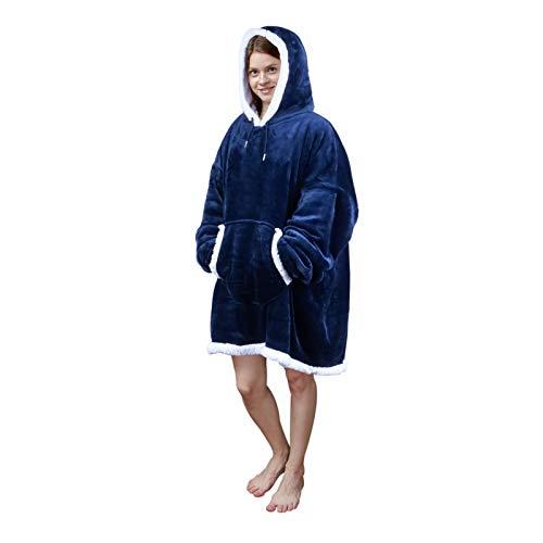 Viviland - Sudadera extragrande de estilo manta con capucha, de tejido sherpa, suave y cálida, con bolsillo frontal grande, para adultos