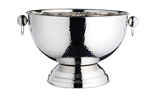 BarCraft, Champagnerkühler/Punschschüssel aus Metall, Stilvoller Silberfarbener Eiskübel für Cocktails, Wein, Bier und Alkoholfreie Getränke, 37 x 25 cm – Edelstahl