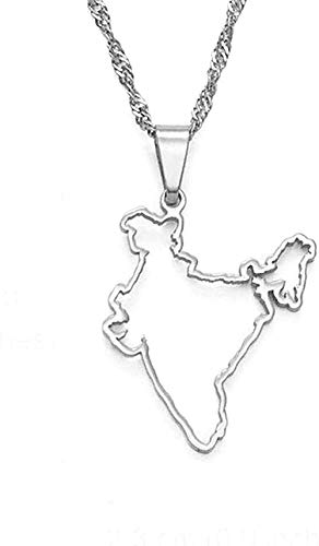ZPPYMXGZ Co.,ltd Necklace Contour Design India map Pendant Necklaces Silver Color/Gold Color Indian Ethnic Jewelry Fashion