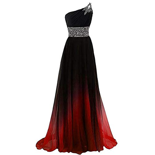W&TT Frauen EIN-Schulter Abendkleider Gradienten Farbe Perlen Prom Kleider Chiffon lang Abend Party Ballkleid,Rot,20