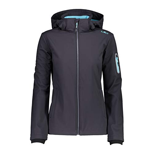 CMP Giacca Softshell Antivento e Impermeabile WP 7.000, Donna, 40, Antracite-Pool