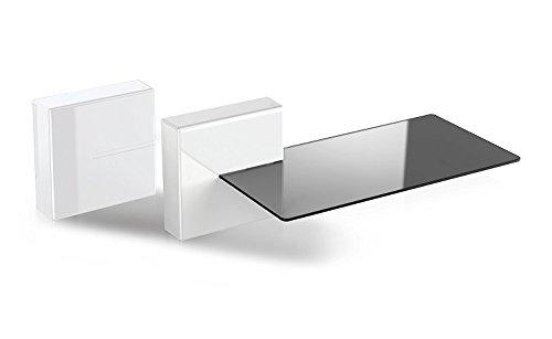 Meliconi 480522 Ghost Cubes Shelf White Stapelbare Kabelkanal mit Regalen aus Glas weiß
