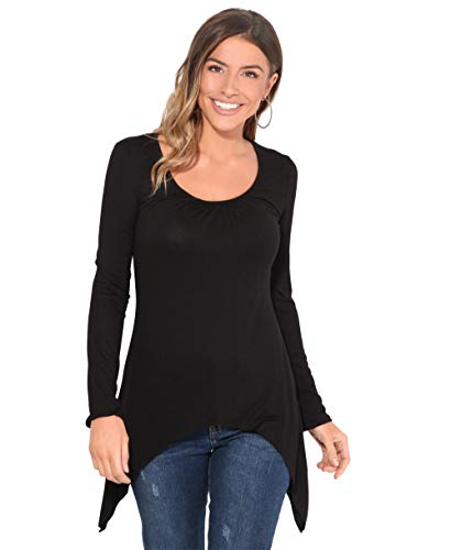 KRISP Camiseta Mujer Asimétrica Básica Moda Manga Larga Original Picos, Negro, 36 EU (08 UK), 5402-BLK-08