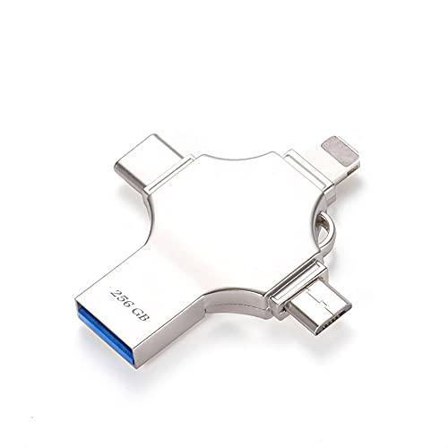 Gosgoly 256GB USB Stick für Phone Android 4-in-1 Speicherstick USB 3.0 Wasserdicht UBS-Stick Memory Stick USB-Flash-Laufwerk OTG External Storage für Smartphones Tablets und Computer PC (256GB)