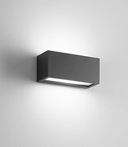 applique lampada da parete per esterno grigio antracite ip54 rettangolare moderna certificazione elettrica italiana garanzia 5 anni per lampadina e27 led