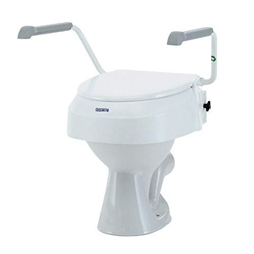 Elevador de WC con reposabrazos abatibles y ajustables | Ajustable en 3 alturas (6, 10 y 15 cm) | Color blanco y gris | Invacare ⭐