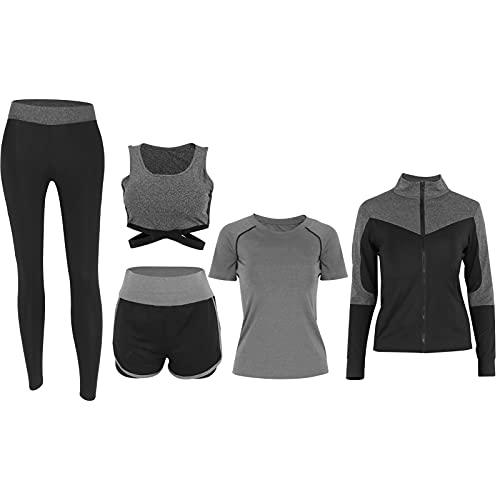 Conjunto de Entrenamiento para Mujeres, Traje de Ropa de Yoga de Accesorios Deportivos para Deportes(Traje Gris de Cinco Piezas)