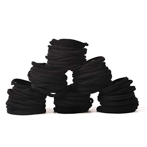 100 PCS Baby Nylon Headbands Hairbands Hair Bow Elastics for Baby Girls Newborn Infant Toddlers Kids DIY (Black)