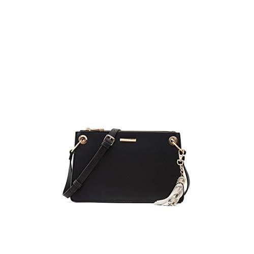 ALDO Women's Pouilley Crossbody Handbag With Adjustable Strap and Tassel detail, Black
