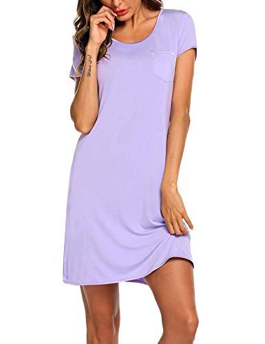 MAXMODA Damen Nachthemd Sleepshirt kurz Ärmel für Frauen Nachtwäsche Baumwolle Vordere Brusttasche Schlafanzug Lila L