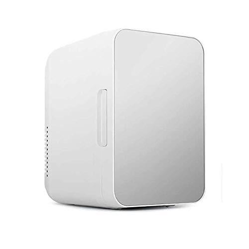 SHKUU Mini refrigerador con refrigerador y Calentador, refrigerador Compacto portátil, Modo de energía para el Dormitorio de la Oficina del automóvil, Color Plateado