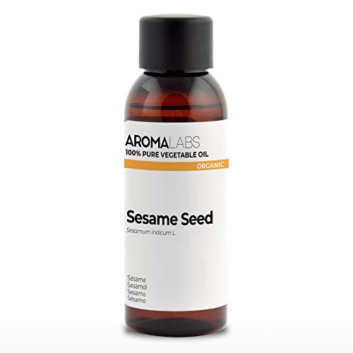 100% BIO - Huile végétale de SÉSAME - 50mL - Garantie Pure, Naturelle, Issue de l'agriculture Biologique, Pressée à froid - Aroma Labs (Marque Française)