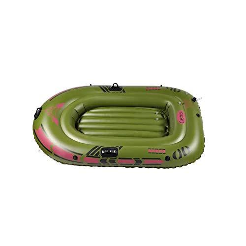 BOOA Tragbares doppeltes Schlauchboot-Armee-grünes Starkes Schlauchboot-aufblasbares Ruderboot, einschließlich Paddel und Pumpe, mit 190kg Tragfähigkeit, Schlauchboot Abmessungen 180 * 103 cm