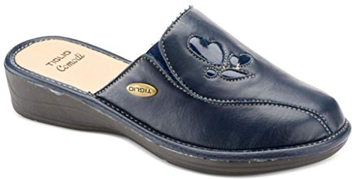 tiglio Pantofole Ciabatte da Donna Art. 1638 Ecopelle Blu (40)