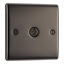SLEEK AND SLIM BLACK NICKEL SINGLE CO-AXIAL SOCKET: From BG Electrical, has softly rounded corners and colour matching fixing screws – combining quality with modern elegance PART OF THE NEXUS METAL RANGE: The single co-axial socket comes with the Eur...
