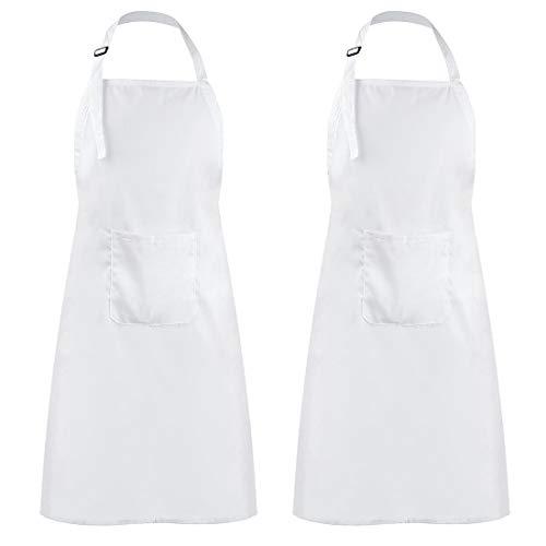 Liuzhou 2 Stück Kochschürze Küchenschürze Große Schürze für Männer Frauen, Verstellbare Nackenband Kochschürze mit Extra Langem Gürtel, Unisex-Kochschürze mit Taschen Weiß