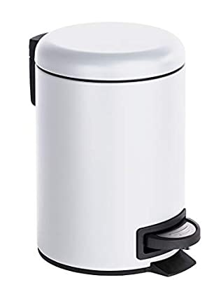 Wenko Cubo con Pedal para Cosmética 3 L, Acero, Blanco, 22.5x17x25 cm