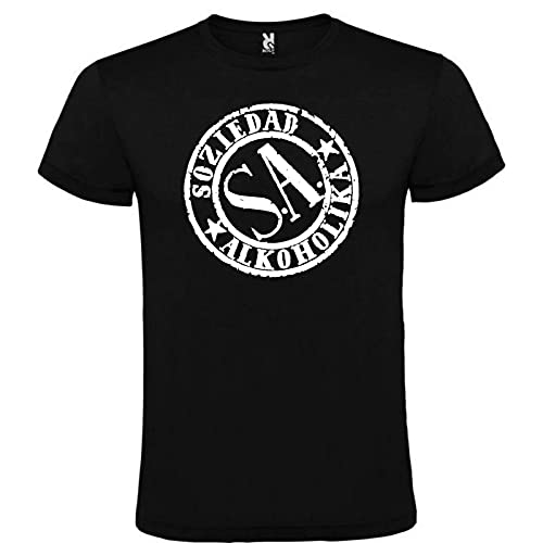 Linnb Soziedad Alkoholika Black T-Shirt Logo Men Size S M L XL XXL 100% Cotton