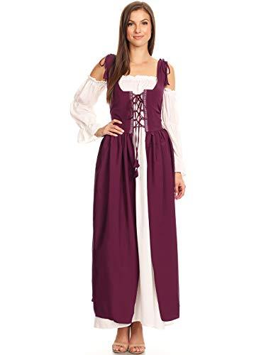 ANNA-KACI Damen Mittelalter Vintage Langarm Kostüme Schnüren Überkleid Kleid