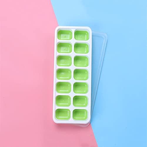 JYDQM Bandeja de Cubo de Hielo de Silicona DIY 14-Ice Cube Maker Molde con Tapa extraíble para el Helado Party Whisky Cocktail Bebida fría (Color : Green)