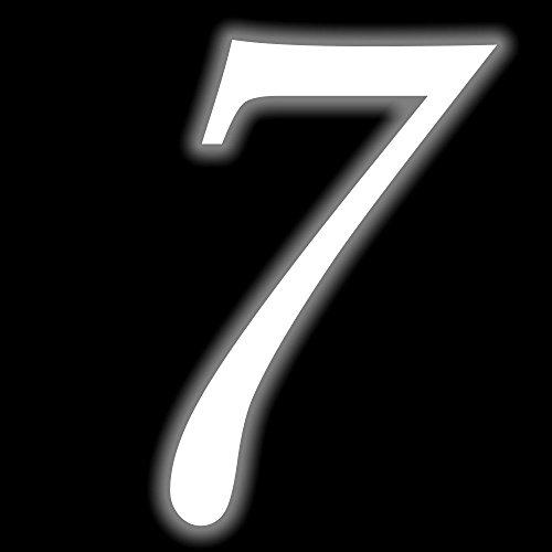 Leuchtziffer - Selbstklebende Hausnummer - 7 - leuchtend, 10 cm hoch - Kleben statt Bohren, nachleuchtend Aufkleber, Ziffer, Zahlen - Leuchtfolie